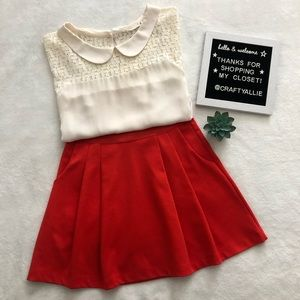 GAP Festive Orange Pleated Skate Skirt — XS